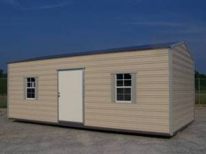 H&H Portable Buildings - Thrifty Aluminum Buildings BTHG12x24x8 12x24 Gable Style Metal Portable Building - 8ft Height