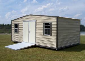 H&H Portable Buildings - Thrifty Aluminum Buildings BTHS10x16x8 10x16 Standard Style Metal Portable Building - 8ft Height