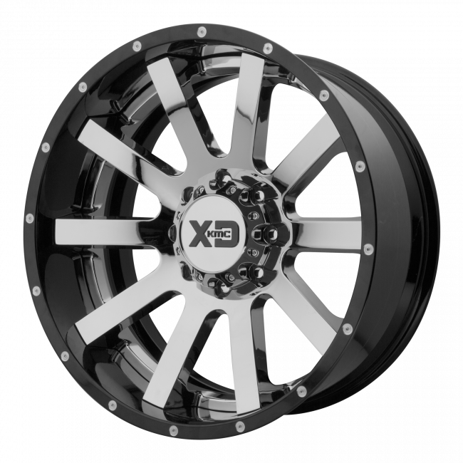 XD Series - XD SERIES XD200 HEIST 20x12 Wheel - Chrome Center w/ Gloss Black Milled Lip