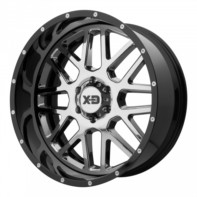 XD Series - XD SERIES XD201 GRENADE 22x10 Wheel - Chrome Center w/ Gloss Black Milled Lip