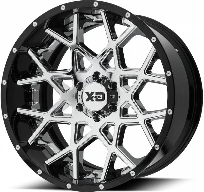XD Series - XD SERIES XD203 CHOPSTIX 22x12 Wheel - Chrome Center w/ Gloss Black Milled Lip