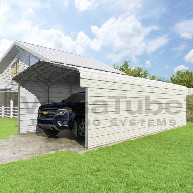 Hh carports 12x29x7 2 sided round roof carport