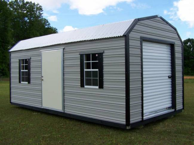 H&H Portable Buildings - Thrifty Aluminum Buildings BTHB10x12 Barn Style Metal Portable Building